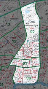 Darstellung des Ortsvereinsgebietes auf einer Stadtkarte, das Gebiet ist farblich abgegrenzt